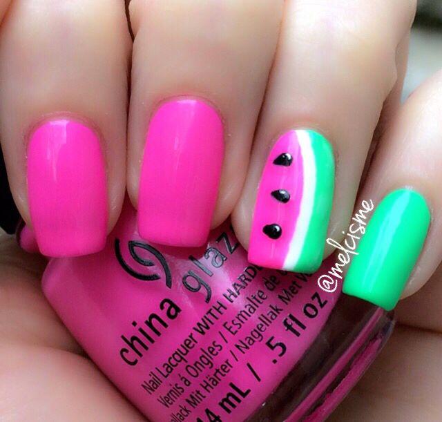 Watermelon nails!!! By IG user melcisme #watermelon #notd #summer