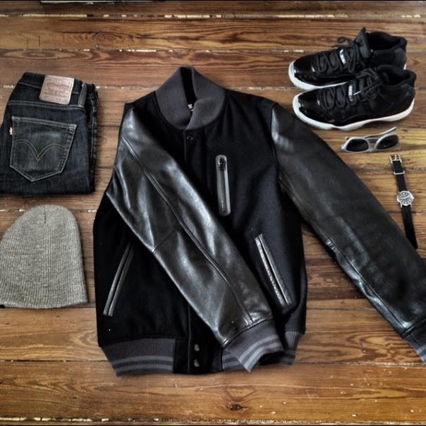 Nike Destroyer Varsity Jacket, Air Jordan 11 Spacejams, Levi's Jeans, Oakley my next show outfit...