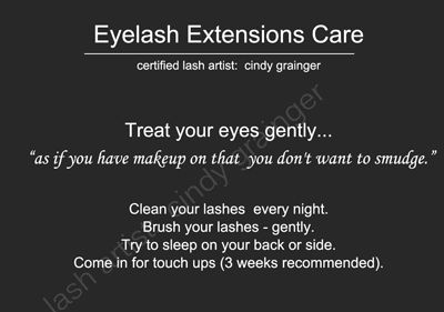 Eyelash Extensions Care is important for Healthy Natural Lashes and Long Lasting Beautiful Eyelash Extensions. Tips from Regina Lash Artist, Cindy Grainger.