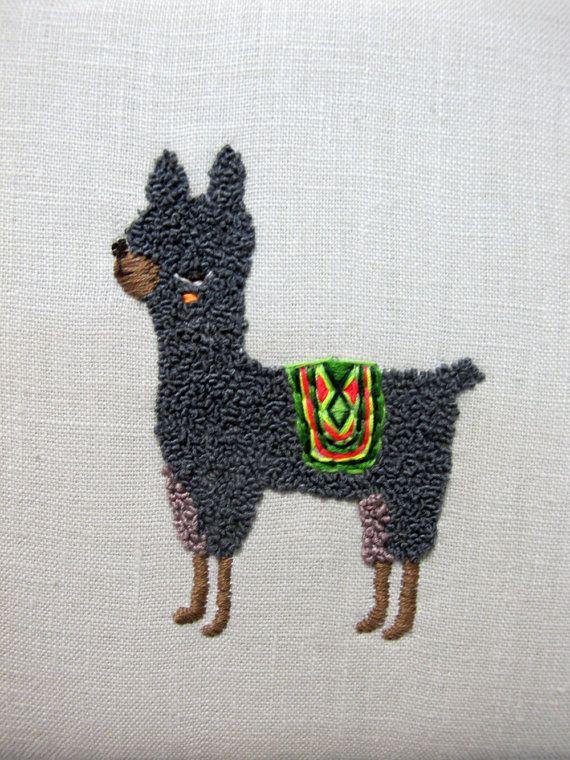 Alpaca Sideways No2 Embroidery by catrabbitplush on Etsy, $175.00