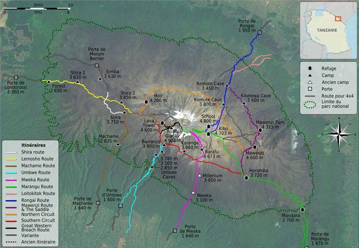 Carte des différents itinéraires sur le Kilimandjaro