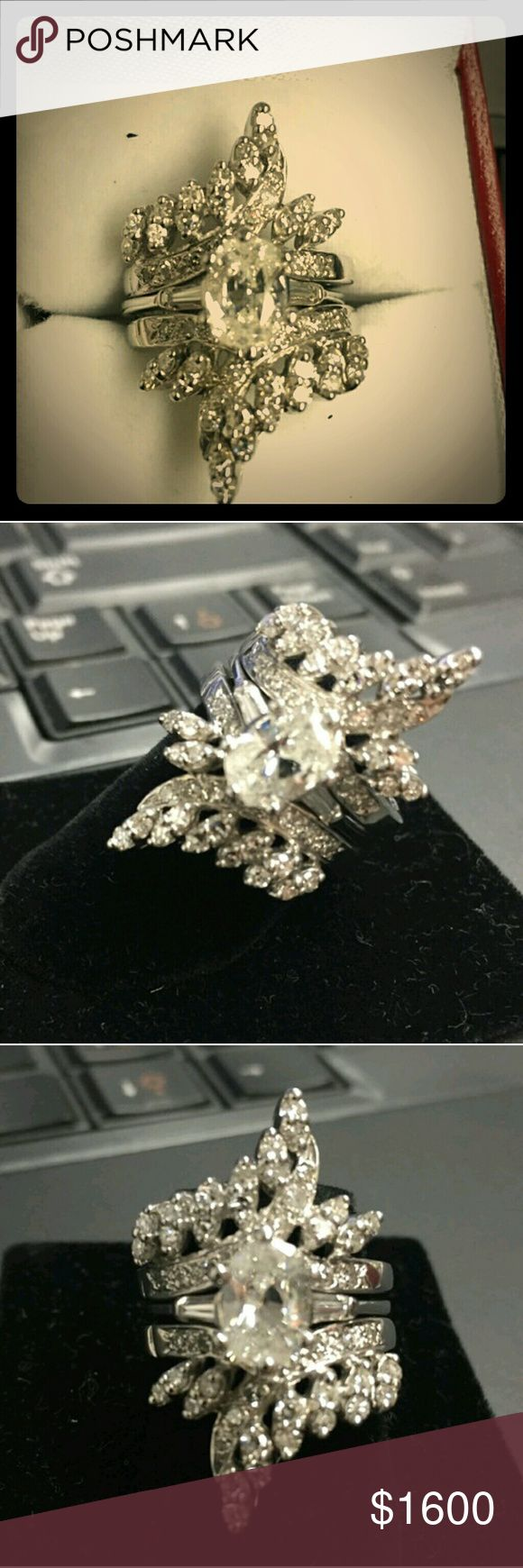 3.50ct Real diamond ring lover's only 3pcs set sz6 3.50ct Real diamond ring lover's only 3pcs set sz6 Will take less on PaayPallll Only Swap to same price or better  This is is used. Color grade is unknown  It was sold to my ago Jackie The Cat consignment shop. Please make overs via paaypall only prices are firm on posh. All diamonds are tested by my jewellers will pass as authentic diamond guaranteed or your money back... You also get for a limted time a $50 gift card at outback steak…