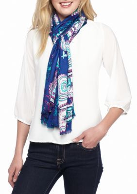 New Directions Women's Paisley Printed Pashmina Wrap - Cobalt - One Size