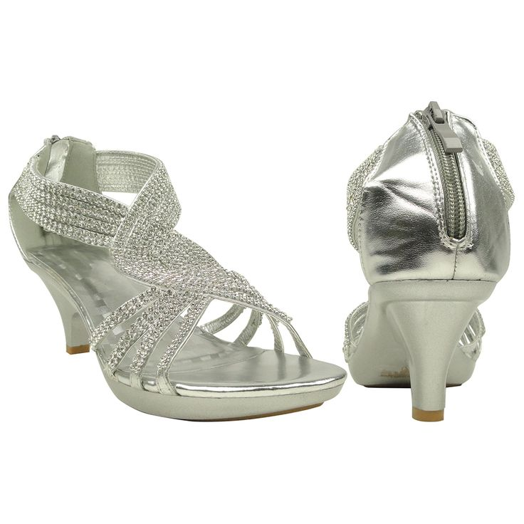 Silver Strappy Shoes Wedding