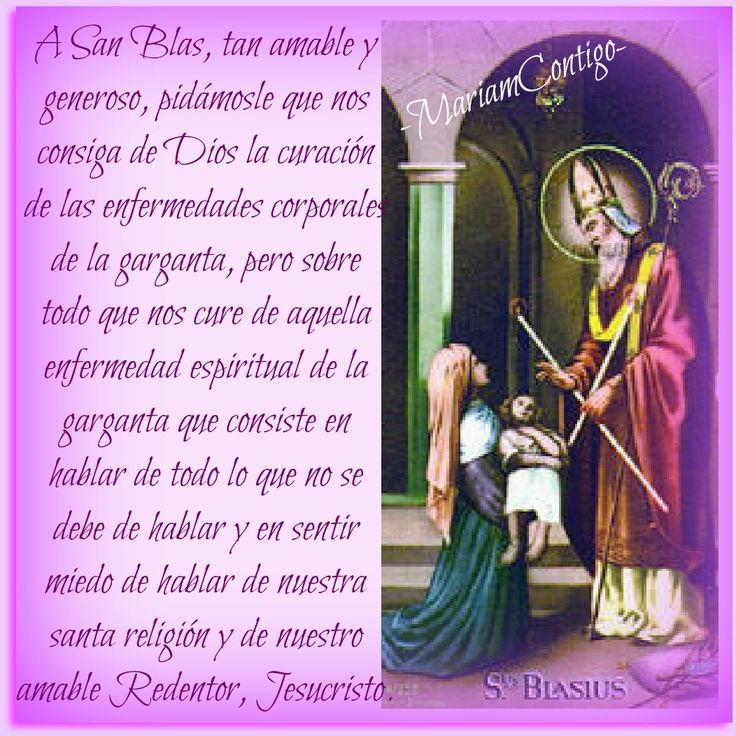 SAN BLAS   'Blas de Sebaste'  Sebaste, Armenia  ( †316)  Mártir y Obispo  Atributos: Velas cruzadas (recuerdo del rito instituido p...