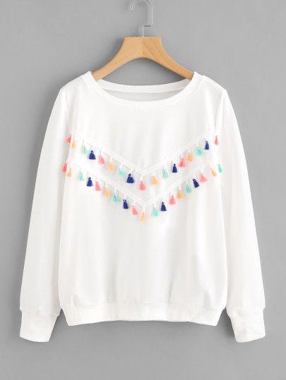 Colorful Fringe Trim SweatshirtFor Women-romwe
