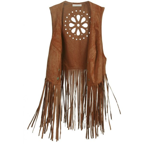 Floral Cutout Back Fringe Suedette Vest Brown ($26) ❤ liked on Polyvore featuring outerwear, vests, tops, jackets, fringe vest, faux vest, floral vest, brown waistcoat and brown fringe vest