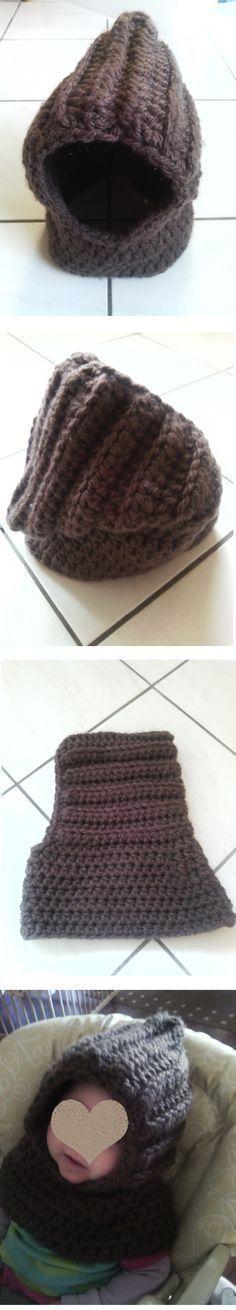 Schlupfmütze für den Winter gehäkelt mollig warm. Schal und Mütze in einem Stück. Schalmütze #SandrasFamily