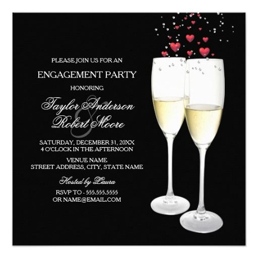 Champagne & Heart Engagement Party Invitation