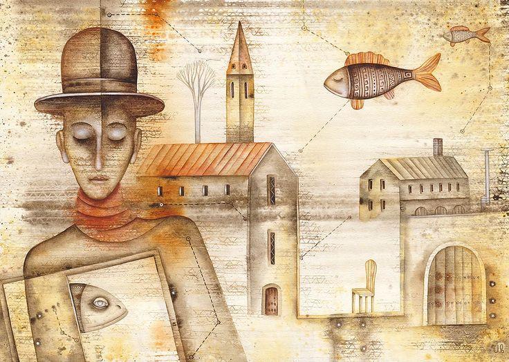 The Constellation Of Pisces by Eugene Ivanov, watercolor on paper, 29 X 41 cm, $415. #eugeneivanov #@eugene_1_ivanov #modern #original #oil #watercolor #painting #sale #art_for_sale #original_art_for_sale #modern_art_for_sale #canvas_art_for_sale #art_for_sale_artworks #art_for_sale_water_colors #art_for_sale_artist #art_for_sale_eugene_ivanov