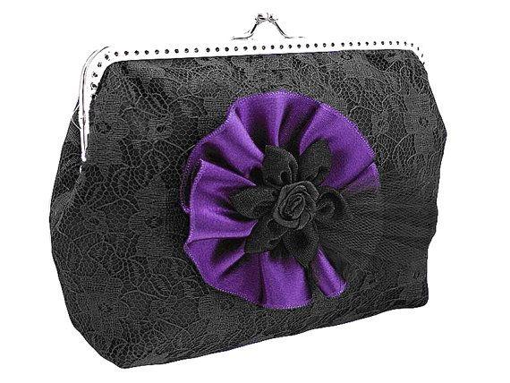 black and purple lace handbag frame clutch bag by FashionForWomen