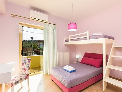 Rethymno villa rental - Twin bedroom with bunk beds! All bedrooms are air conditioned!