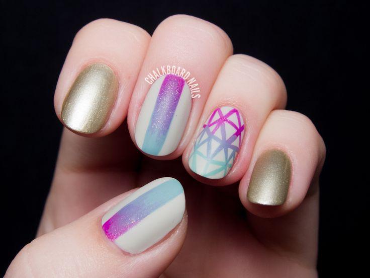 Geometric Gradient Nail Art