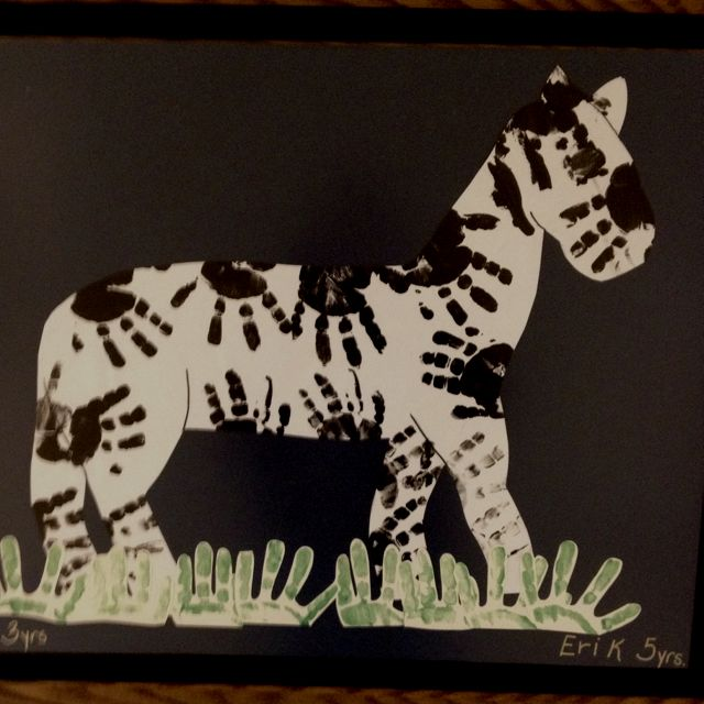 Zebra stripes out of hand prints!   This is from Sacred Heart Children's Hospital... Some really awesome Child Life Specialists thought of this!