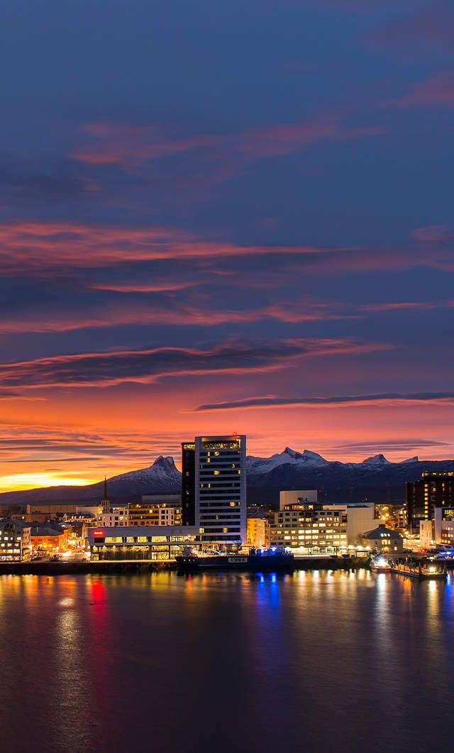 Bodø, situated on a peninsula on a stretch of coastline in Northern Norway