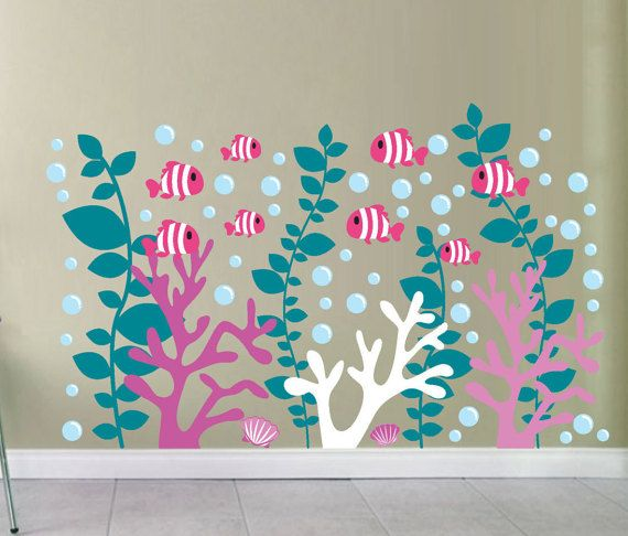 Coral Reef Nursery Fish Wall Decal Under Water Sea Weed Stickers Under the Sea Decals School of Fish Decals Clown Fish Sea Creature Art Nemo
