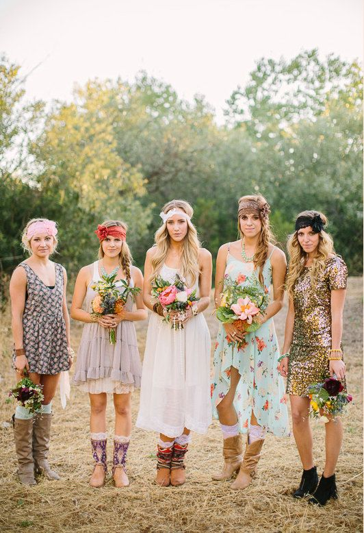 Love This Bridesmaids Look Bohemian Wedding Lace Headband Fl By Threebirdnest Let S Get Party Started