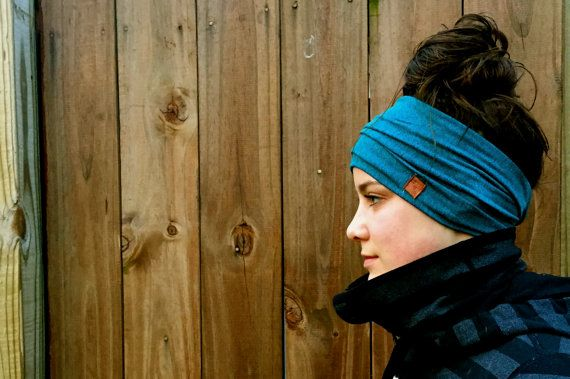 Yoga running hiking crossfit headband: Teal by TheOddDogCo on Etsy