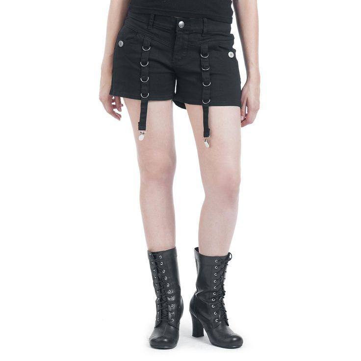 """Pantaloncini da donna neri """"Strapped Hot-Pants"""" della collezione #GothicanabyEMP."""