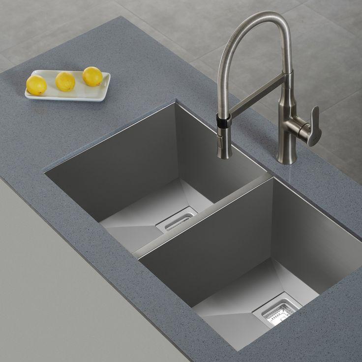 kraus zero radius equal double bowl kitchen sink - Kraus Sinks