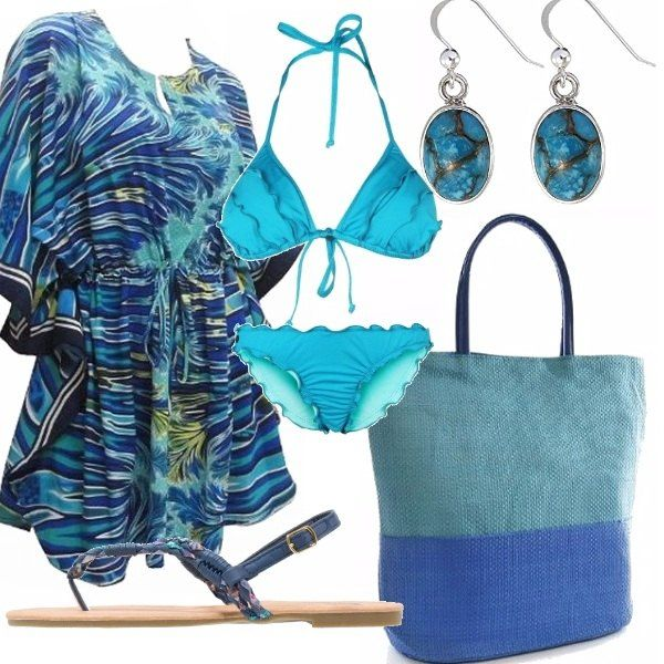 Outfit pensato per la bella stagione, per una gita al lago: bikini a triangolo turchese, copricostume in fantasia turchese, bluette, verde. Borsa verde acqua con catene e tracolla, sandalo infradito blu con motivo di fiocco, orecchini con pietre azzurre, verdi, blu.