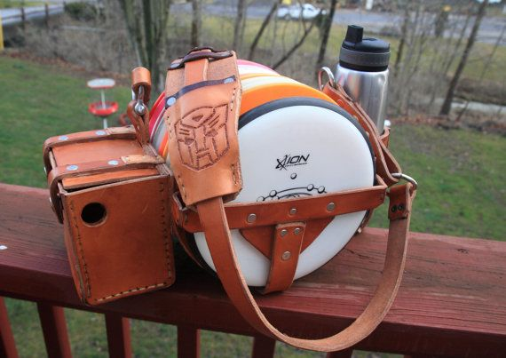 Custom Made Leather Disc Golf Bag by KarlsCustomLeather on Etsy