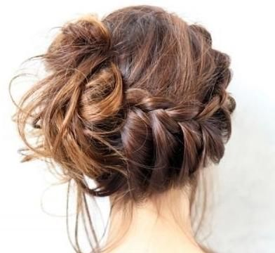 Beautiful messy braided bun hairstyle