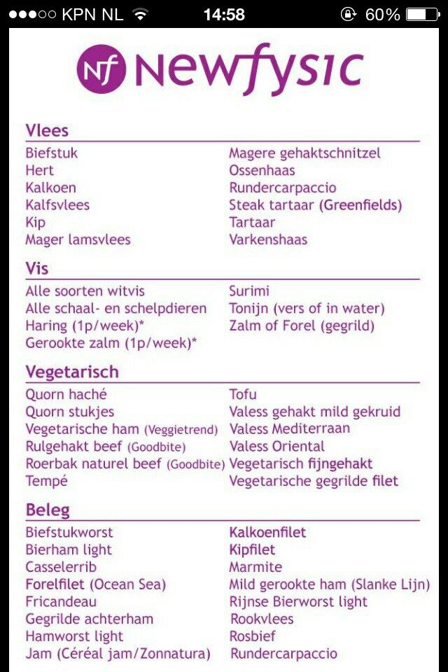 Vlees/vis/vega/beleg