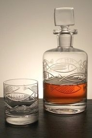 Go Fish Etched Decanter