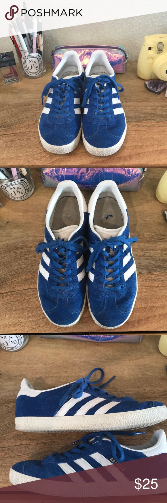 Adidas gazelles royal blue Royal blue gazelles. Kids size 5, fit like a women's 7.5. Light wear overall great condition! adidas Shoes Sneakers
