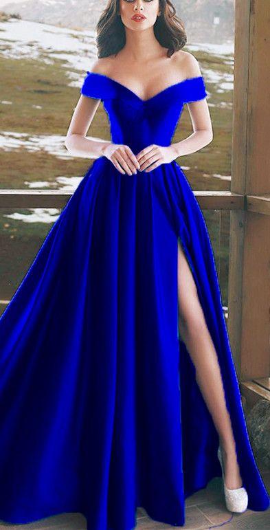 695c27920b Elegant V-neck Off The Shoulder Long Satin Prom Dresses Royal Blue Evening  Gowns