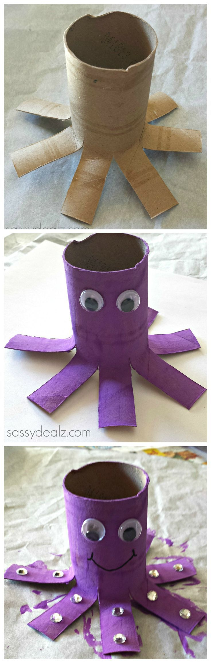 Octopus Toilet Paper Roll Craft For Kids #Recycled toilet paper tube art project #Ocean #Purple | http://www.sassydealz.com/2014/01/octopus-toilet-paper-roll-craft-for-kids.html