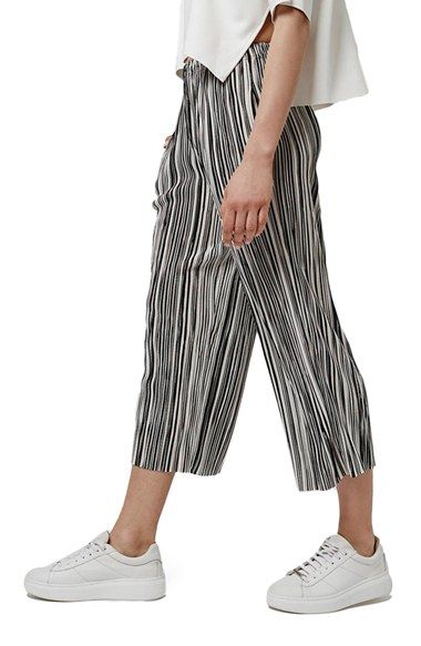 Topshop Pleat Stripe Crop Trousers (Petite) available at #Nordstrom