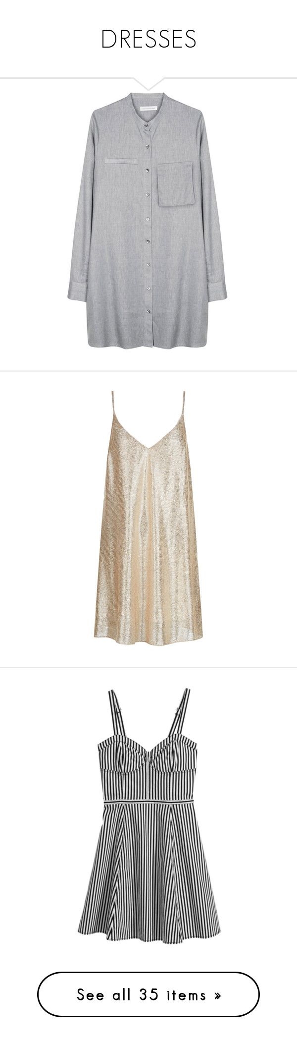 """""""DRESSES"""" by janeorlova ❤ liked on Polyvore featuring tops, tunics, dresses, shirts, shirt tops, smocked tunic, smock top, christopher esber, smocked top and gold"""