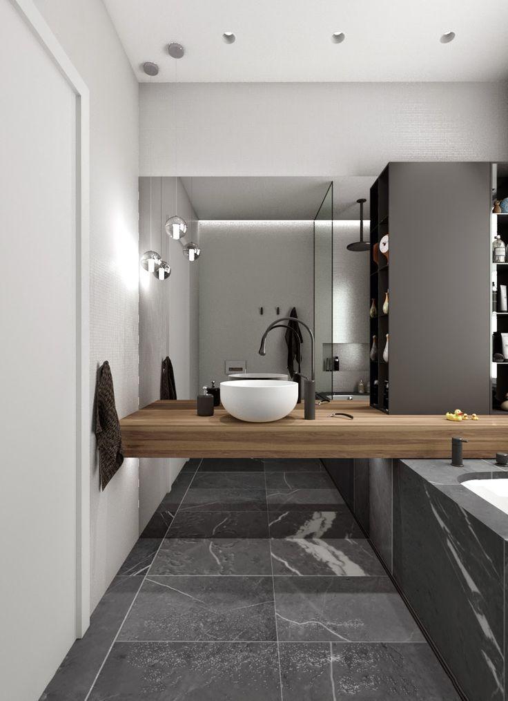 Дизайн маленькой ванной комнаты: 35 секретов оформления (фото) http://happymodern.ru/malenkaya-vannaya-komnata-vybiraem-dizajn-35-foto/ Маленькая (45 см) раковина расположена на подвесной столешнице над ванной. Таким образом достигнута зрительная легкость и неперегруженность, и к коммуникациям под ванной устроен самый легкий доступ