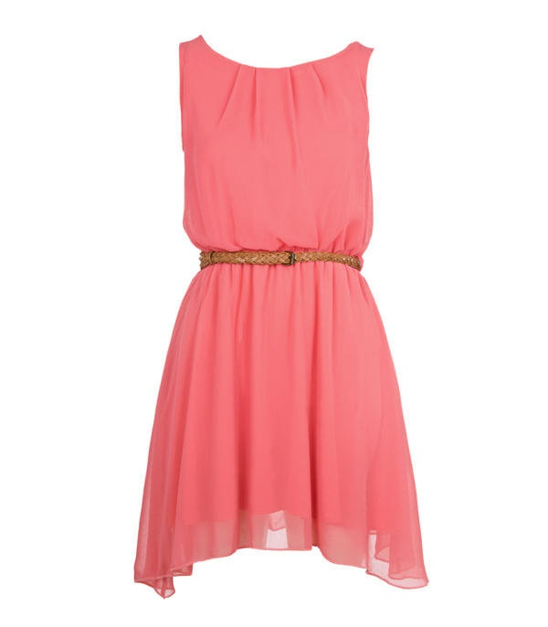 Coral Pleat Detail Chiffon Dress - Clothing - desireclothing.co.uk