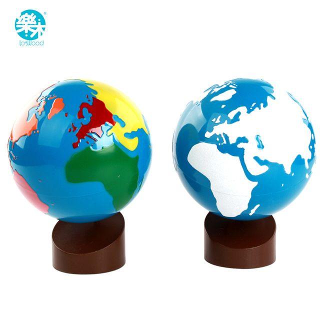 Baby houten Montessori Speelgoed Wereldbollen Learning Land Water Baby Vroege Educatief Kids Geschenken