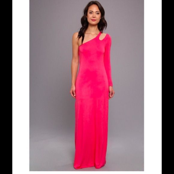 "ONE SHOULDER CORAL MAXI DRESS Coral one shoulder slip on dress. 96% rayon. 4% spandex. Length is 62"". NO TRADES. Reasonable offers made through the ""offer"" feature are welcomed and will be considered. Gabriella Rocha Dresses Maxi"