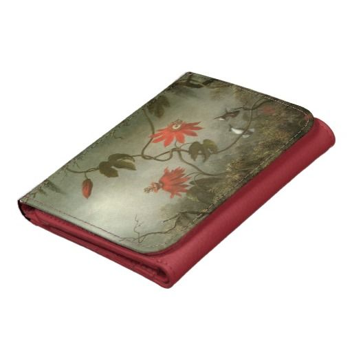 Passion Flowers and Hummingbirds Leather Wallet