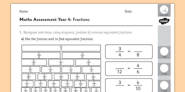 Year 4 Maths Assessment: Fractions Term 1