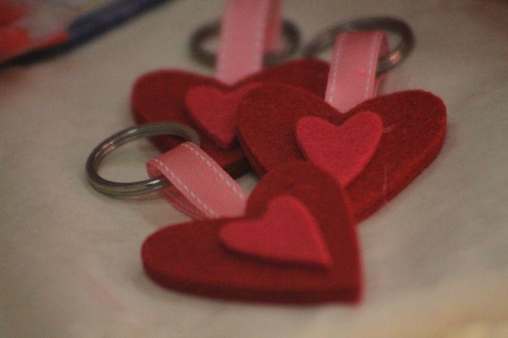 portachiavi in feltro doppio cuore