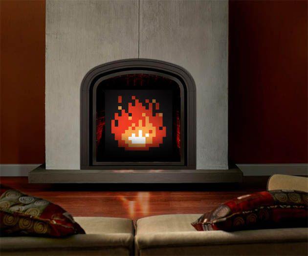 8-Bit Zelda Fireplace Art...if I had a fireplace, I would totally jack this idea!!!Geek, Modern Fireplaces, Fireplaces Art, Fireplaces Design, Zelda Fireplaces, 8Bit Fireplaces, Videos Games, Gas Fireplaces, 8 Bit