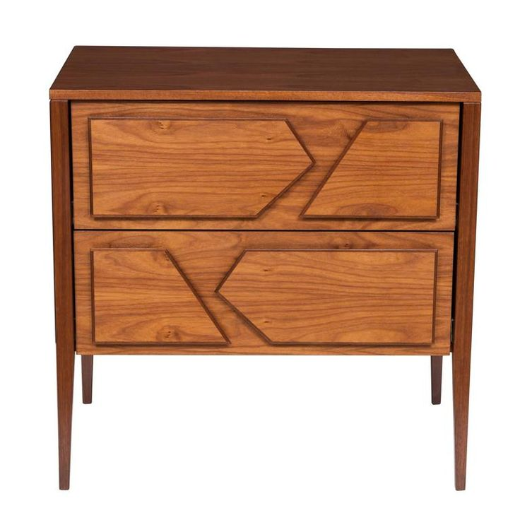 Armia Two Drawer Walnut Dresser | From a unique collection of antique and modern dressers at https://www.1stdibs.com/furniture/storage-case-pieces/dressers/