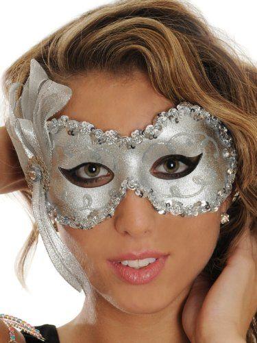 Silver Angelina Eye Mask Mardi Gras Womens Accessories Costume