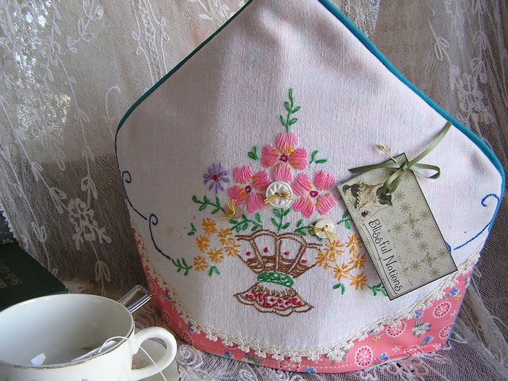 tea cosy from vintage linen                                                                                                                                                                                 More