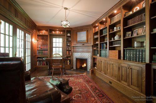 Дизайн интерьера гостиной библиотеки