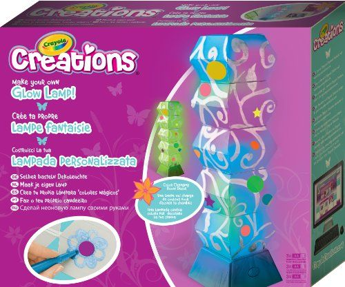 #PopularKidsToys Just Added In Store! Crayola Make Your Own Glow Lamp - [gallery] Creation Kit - My Multicoloured Lamp Create your own lamp. Erase and start again to create new designs ! Use the metallic felt-tipped pens to create super pearly effects and repositionable stickers to add colour. Includes : 1 duo-mode LED stand for the lamp, 1 double-sided decal sheet, 1 plastic lampshade, 4 elastic bands, 2 metallic felt-tipped pens. Dimensions : 30 cm x 25.5 cm x 7.5 cm.  [amz