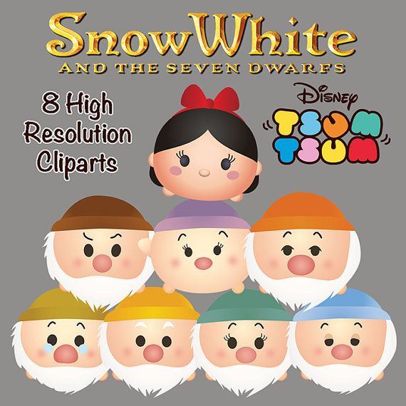 Snow White & 7 Dwarfs TSUM TSUM Characters. 8 High Resolution Clipart. Tsum Tsum…
