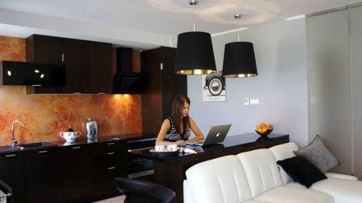 Стильный дизайн коричнево черно красной кухни в однокомнатной квартире студии