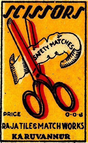 vintage matchbox label ~                                        I <3 SCISSORS!